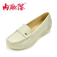 内联升女鞋单鞋 女式牛皮鞋时尚休闲女鞋 护士鞋 F-1773
