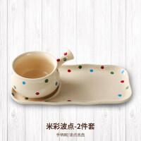 【优选】创意波点托盘家用早餐盘子陶瓷碟燕麦碗�h饭碗日式一人食餐具套装