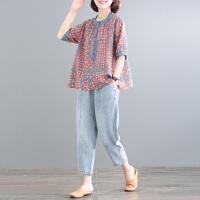 【上衣+牛仔裤 两件套】2020夏季新款宽松大码减龄印花复古休闲时尚套装女夏 显瘦 洋气