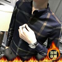 春季格子长袖衬衫男韩版修身寸衫男休闲厚款免烫保暖衬衣加绒加厚