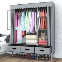 带抽屉简易布衣柜现代简约出租房挂衣柜家用钢管大号双人布柜 2门 组装
