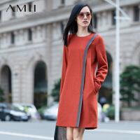 【AMII 超级品牌日】AMII[极简主义]冬新中长下摆开衩印花连衣裙11581870