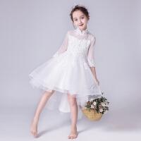 花童婚纱裙儿童小主持人钢琴演出服长袖夏季女童礼服蓬蓬裙公主裙