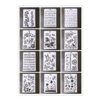 手抄报模板工具 diy相册主题花边尺 小学生手抄报模板儿童绘画图工具镂空手账装饰 白色 1-12各一把
