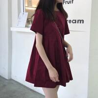 小香风连衣裙女春装2019新款修身百搭纯色短袖圆领气质显瘦A字裙