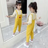 2019春秋季新款儿童背带裤中大童女孩洋气两件套女童秋装套装