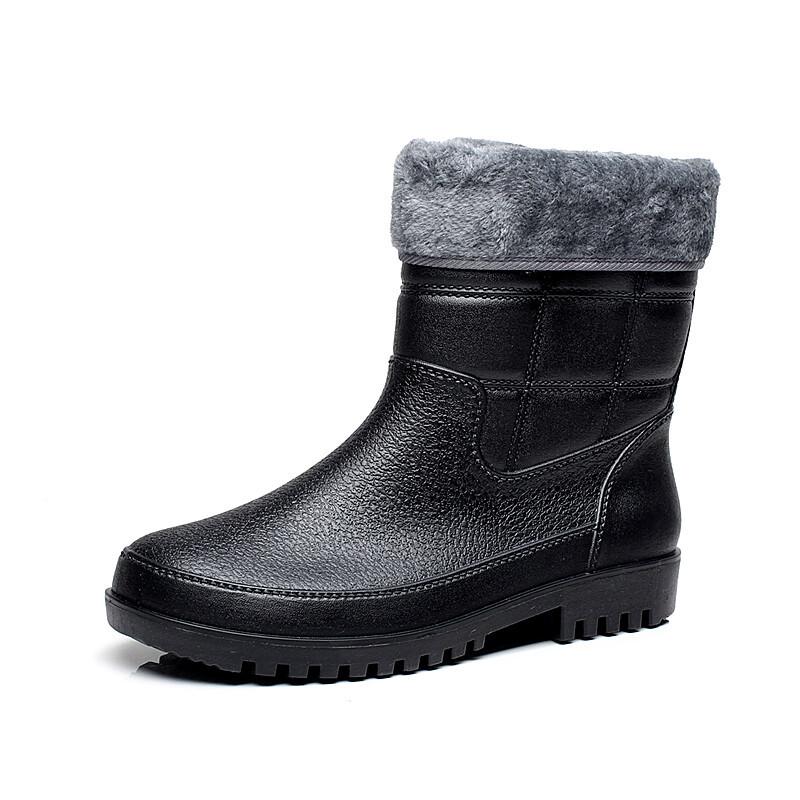 新品大码皮纹男士雨鞋时尚加绒棉保暖中短筒雨靴钓鱼防滑套鞋胶鞋 80033黑色棉 多,快,好,省,上京东