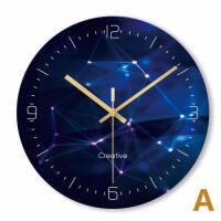钟表挂钟客厅家用时钟超静音创意轻奢石英钟艺术玻璃黑色大气卧室 12英寸