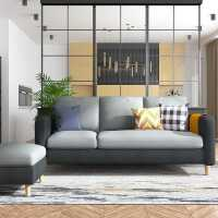现代简约布艺沙发组合小户型北欧拆洗贵妃客厅三人座乳胶款出租房