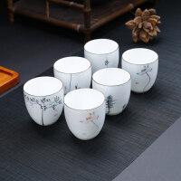 【热卖新品】手绘茶杯单杯品茗杯大号白瓷薄胎主人杯创意普洱茶杯陶瓷茶具