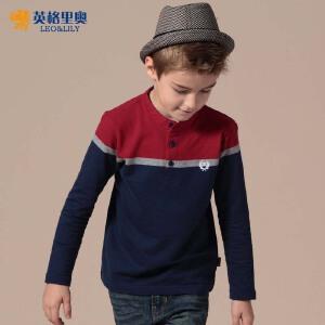 英格里奥童装春秋装新款男童T恤儿童长袖开襟卫衣T恤宝宝长袖T恤衫韩版LLB3507