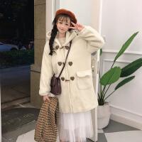 秋冬女装新款韩版宽松中长款仿羊羔毛大衣学生毛呢牛角扣外套风衣 均码