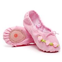 女孩芭蕾舞鞋猫爪鞋花朵表演舞台鞋宝宝软底鞋儿童舞蹈鞋跳舞鞋