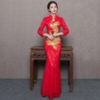 新娘敬酒服旗袍2018新款冬季结婚礼服女红色中式修身鱼尾长款加厚