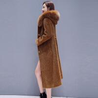 皮草外套女2018新款冬季年轻款狐狸毛颗粒绒中长款羊剪绒大衣