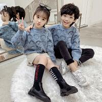 2019秋冬装姐弟新款韩版儿童针织衫加厚洋气男女童毛衣线衣