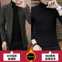 男士风衣2018新款秋冬季韩版羊毛呢大衣中长款加绒加厚呢子外套潮 +886黑色高领毛衣