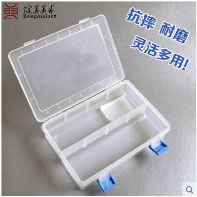 透明多用途工具盒 带盖塑料笔盒 美术用品工具盒660美术用品 盒内附带3片隔断,可拆卸