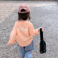 【59元2件】纽豆儿童纯棉字母打底衫韩版纯色洋气宝宝套头上衣潮女童春秋长袖T恤
