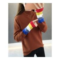 针织衫长袖女秋冬装新款韩版宽松女装半高领套头彩虹袖打底衫