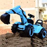 大型玩具车可坐人儿童电动挖掘机玩具遥控车挖土机可坐大号男孩充电脚踏工程车钩机 蓝色挖掘机大电瓶双驱动 全电动挖臂 官方