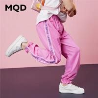 MQD童装女童针织裤2020春夏新款韩版百搭条纹束脚裤字母运动裤潮