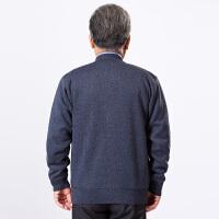 中老年男士秋季休闲针织衫V领长袖毛衣开衫老人加绒线衣外套