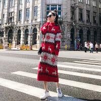 超长款毛衣套头女秋冬季韩版小鹿大红宽松中长过膝打底针织连衣裙 红色 均码