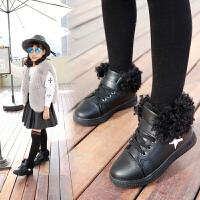 童鞋女童棉鞋运动鞋2017秋冬新款高帮休闲鞋学生板鞋加绒儿童鞋子