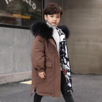 儿童羽绒服女童中长款男孩中大童装新款韩版洋气两面穿厚外套