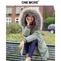 【11.24超品日3件2折到手价:639元】ONE MORE2019冬装新款大毛领羽绒服女中长款个性口袋时尚外套加厚