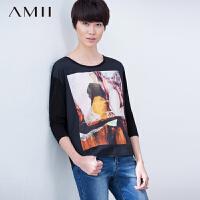 【AMII大牌日 2件4折】Amii[极简主义]秋大圆领油画印花拼雪纺打底大码T恤11640365