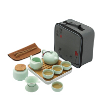 【新品热卖】旅行陶瓷功夫茶具套装户外旅游便携包快客杯一壶四杯家用茶壶茶盘 天青 西施壶旅行套装