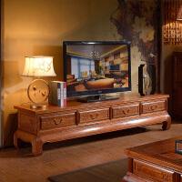 【热卖新品】实木电视柜木新中式家具卧室简约客厅仿古地柜矮柜储物柜 四抽电视柜 整装