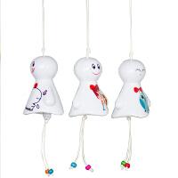 日式晴天娃娃陶瓷风铃挂件 创意儿童生日礼物小清新车饰卧室挂饰