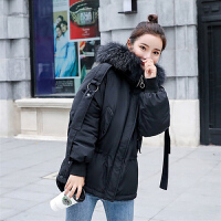 大毛领女短款韩版小个子收腰宽松2018冬季新款时尚棉衣外套潮 S 110斤以下