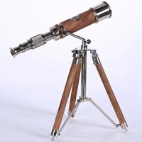 美式奢华复古望远镜摆件欧式贵族样板房办公室书房软装饰品商务礼品乔迁新居礼物