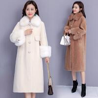 大衣女冬季毛领型宽松显瘦中长款过膝颗粒皮草外套