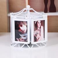 个性相框摩天轮 多功能旋转音乐盒相框摆台创意个性风车相架摩天轮组合像框B 白色(可放6张照片,未组装) +冲洗