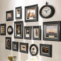 美式照片墙相框墙相片餐厅墙面装饰复古实木欧式相框挂墙组合创意