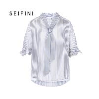 商场同款诗凡黎夏季新款绑带V领条纹衬衫女短袖3180513222381