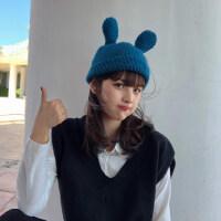 艾佳微手工钩针卖萌可爱甜美兔耳朵毛线帽子女秋冬复古保暖针织帽