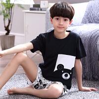 男孩中大童家居服套装夏季儿童睡衣男童棉短袖春天薄款童装