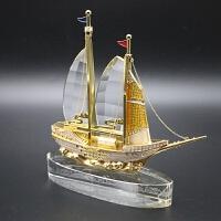 水晶船一帆风顺工艺品摆件公司会议同学聚会退伍定制商务创意礼品 水钻水晶船