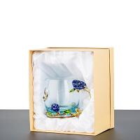 珐琅彩水杯套装耐热玻璃杯带盖水杯子创意啤酒杯花茶杯家用大礼盒