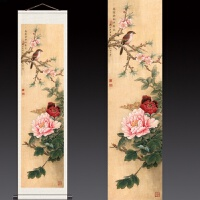 150*30工笔牡丹花鸟卷轴字画丝绸茶楼古典挂画字画可定制条幅 200*50 丝绸已裱卷轴