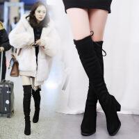 保暖加绒过膝长靴长筒靴弹力靴高筒靴高跟女靴秋冬季新款