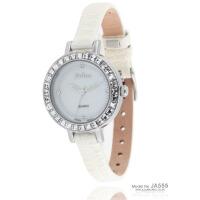 2018年新款 聚利时Julius 时尚水晶女表 蟒纹漆皮表带女士手表 JA-555白色