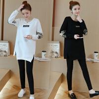 孕妇秋冬装t恤2018时尚韩版宽松显瘦长袖上衣+托腹裤孕妇两件套装