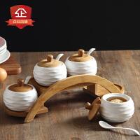 创意厨房用品调味罐套装家居陶瓷调料罐日式竹木盖调味盒味精盐瓶 拱形